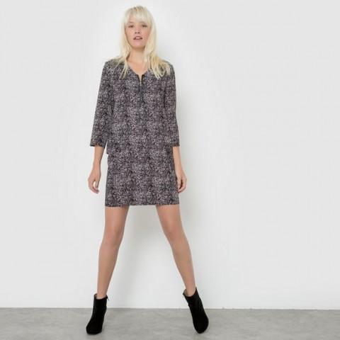 Платье прямого покроя из струящейся ткани черный наб. рисунок BEST MOUNTAIN